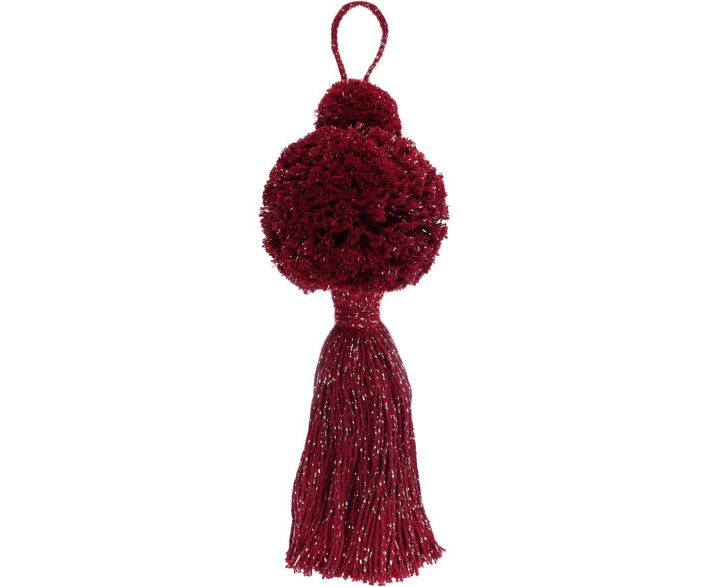Adornos navideños Pompon, 2uds., Algodón con hilo de lurex, Color vino, dorado, Ø 8 x Al 37 cm