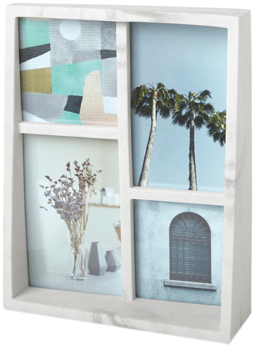 Portafoto multiplo da tavolo Edge, Poliresina con effetto marmo, Bianco, Set in varie misure