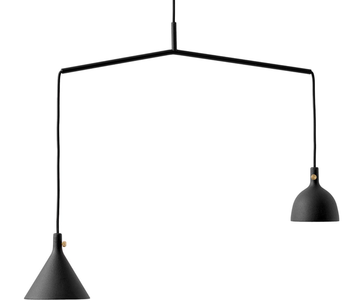 Lámpara de techo Cast, Pantalla: aluminio recubierto, lató, Estructura: metal con pintura en polv, Cable: cubierto en tela, Negro, L 66 x Al 432 cm