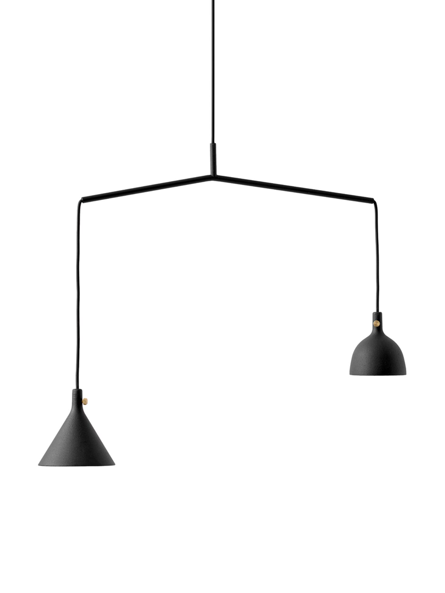 Hanglamp Cast, Lampenkap: gecoat aluminium, messing, Zwart, 66 x 432 cm