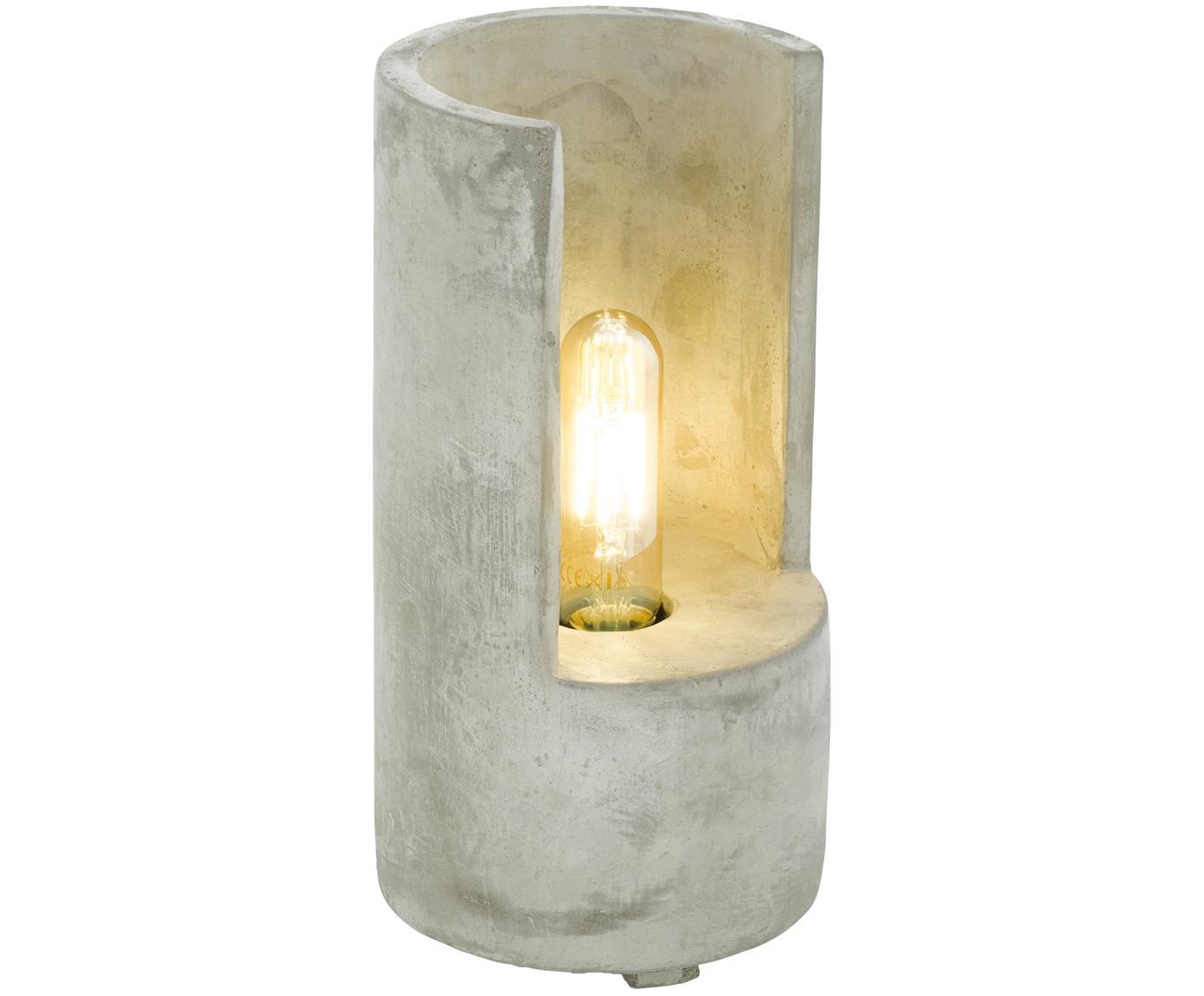 Lámpara de mesa de cemento Lynton, Lámpara: cemento, Cable: plástico, Gris cemento, Ø 14 x Al 27 cm