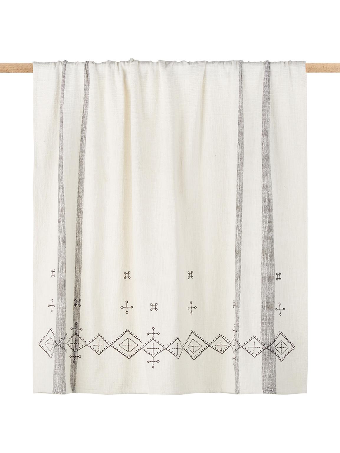 Geborduurde plaid Slub, Katoen, Gebroken wit, zwart, 130 x 170 cm