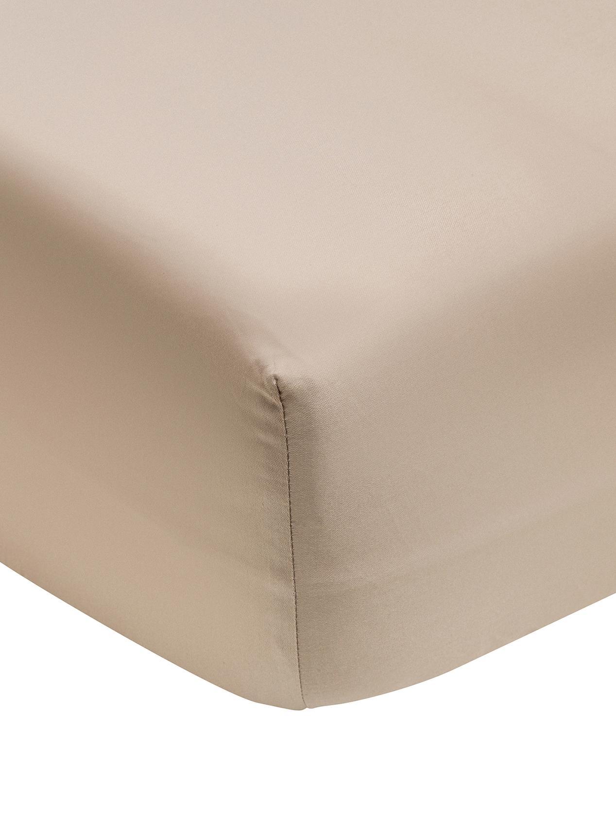 Lenzuolo con angoli in  raso di cotone Premium, Tessuto: raso, leggermente lucido, Taupe, Larg. 90 x Lung. 200 cm