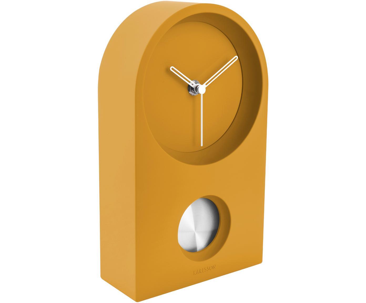 Zegar stołowy Taut, Tworzywo sztuczne (ABS), Żółty, odcienie srebrnego, S 15 x W 25 cm