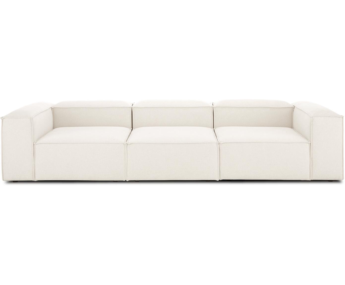 Sofa modułowa Lennon (4-osobowa), Tapicerka: poliester 35 000 cykli w , Stelaż: lite drewno sosnowe, skle, Nogi: tworzywo sztuczne, Beżowy, S 326 x G 119 cm