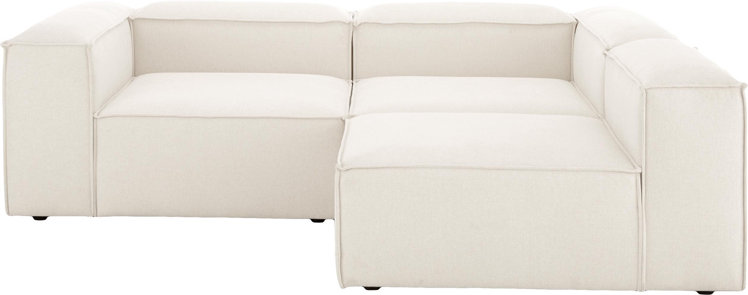 Modulares Sofa Lennon (4-Sitzer), Bezug: Polyester 35.000 Scheuert, Gestell: Massives Kiefernholz, Spe, Füße: Kunststoff, Webstoff Beige, B 326 x T 119 cm
