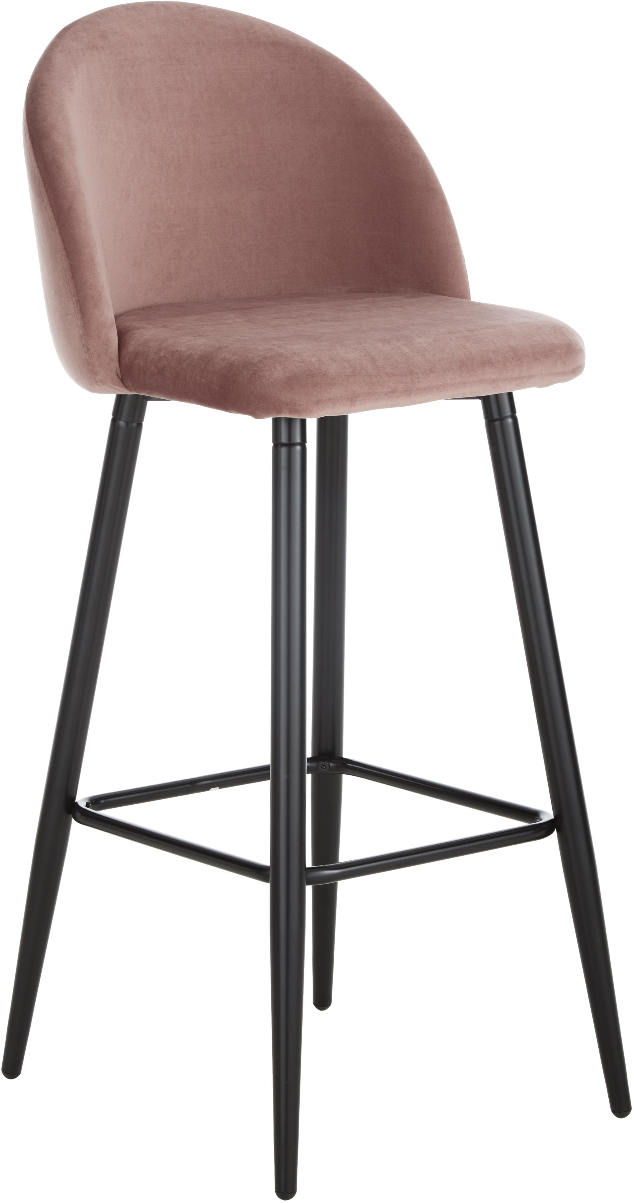 Krzesło barowe w kolorze blado różowym Amy z aksamitu, Tapicerka: aksamit (poliester) Tkani, Nogi: metal malowany proszkowo, Tapicerka: różowy Nogi: czarny, matowy, S 45 x W 103 cm
