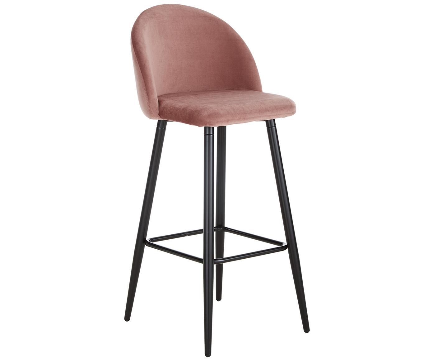 Roze fluwelen barstoel Amy, Bekleding: fluweel (polyester), Poten: gepoedercoat metaal, Bekleding: roze. Poten: mat zwart, 45 x 103 cm