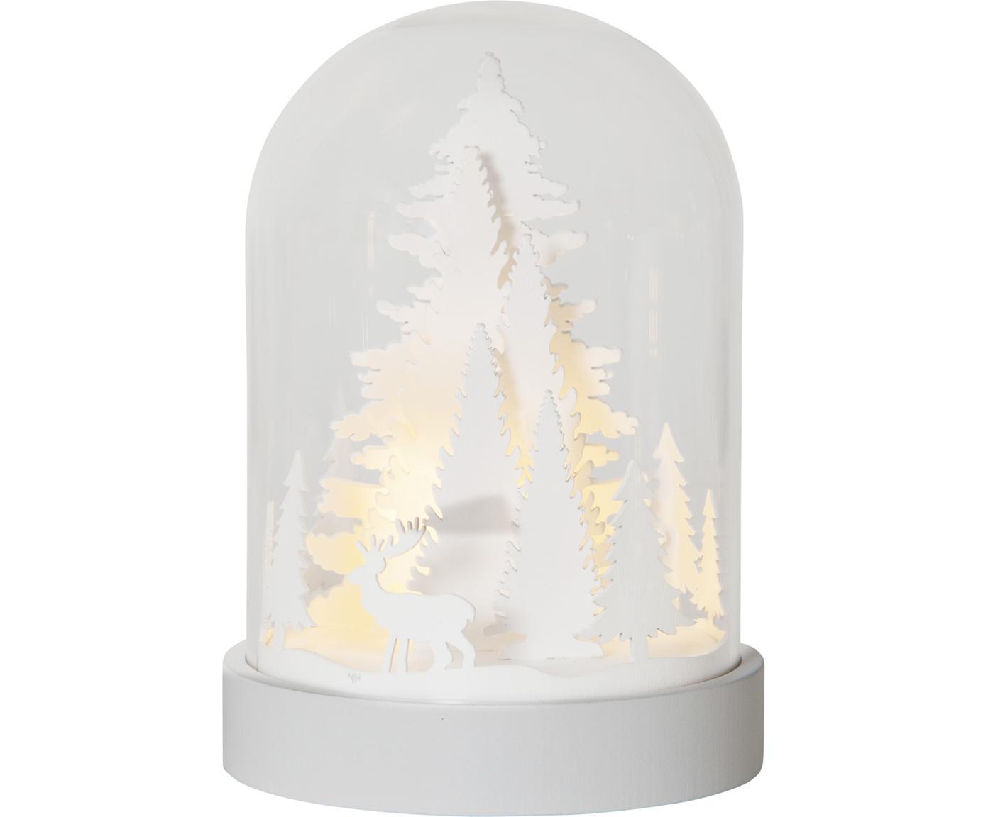 LED Leuchtobjekt Reindeer, batteriebetrieben, Mitteldichte Holzfaserplatte (MDF), Kunststoff, Glas, Weiß, Transparent, Ø 13 x H 18 cm
