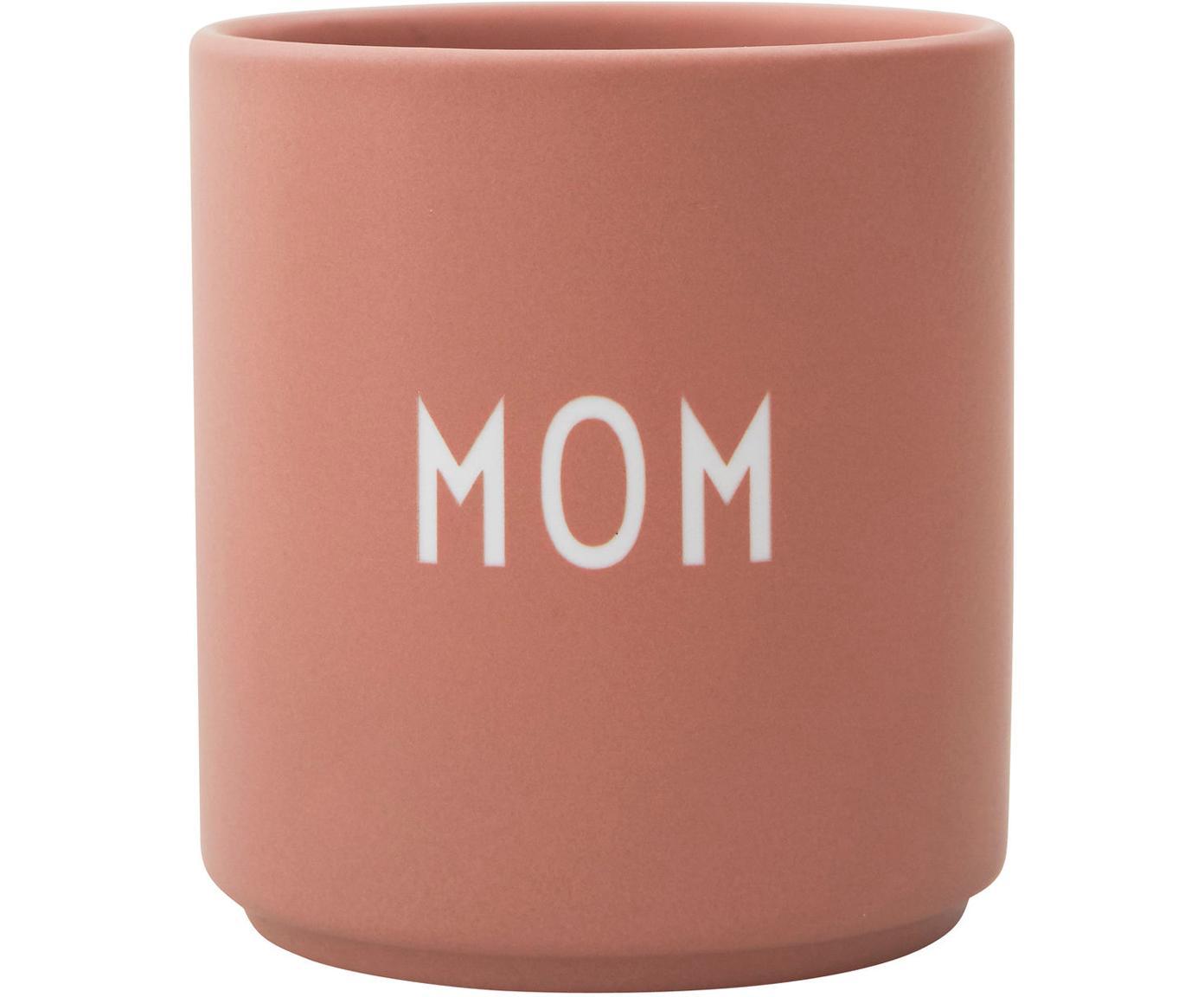 Design Becher Favourite MOM in Terrakotta mit Schriftzug, Fine Bone China (Porzellan), Rosa, Weiß, Ø 8 x H 9 cm
