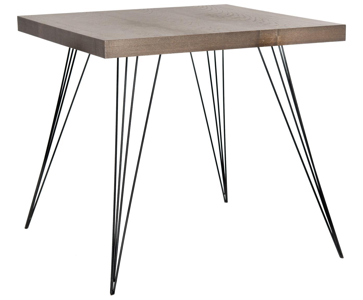 Mesa de comedor pequeña y cuadrada Wolcott, Tablero: fibras de densidad media,, Patas: hierro, pintado, Marrón oscuro, negro, An 80 x F 80 cm