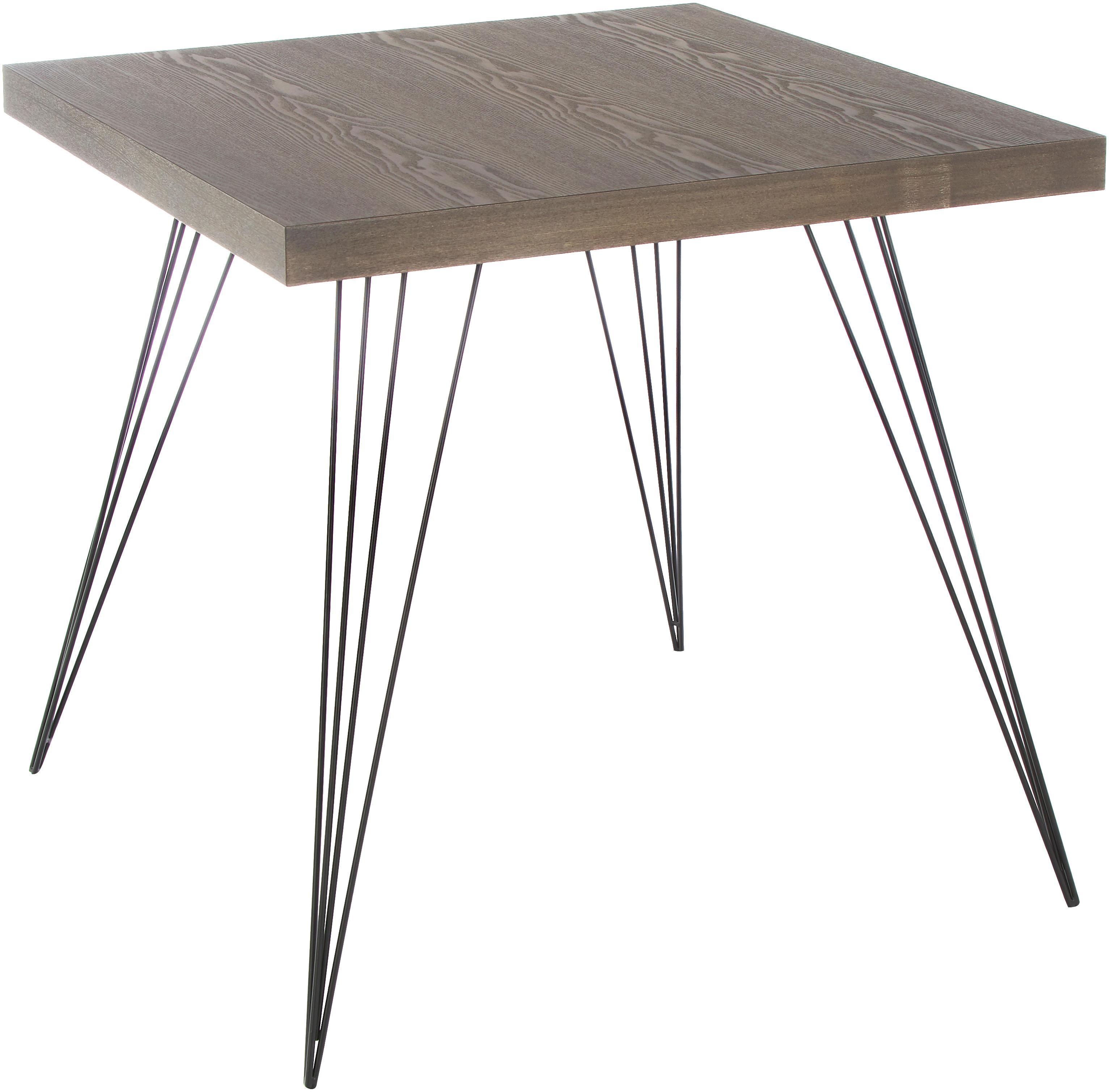 Mały stół do jadalni z nogami z metalu Wolcott, Blat: płyta pilśniowa o średnie, Nogi: żeliwo lakierowane, Ciemnybrązowy, czarny, S 80 x G 80 cm