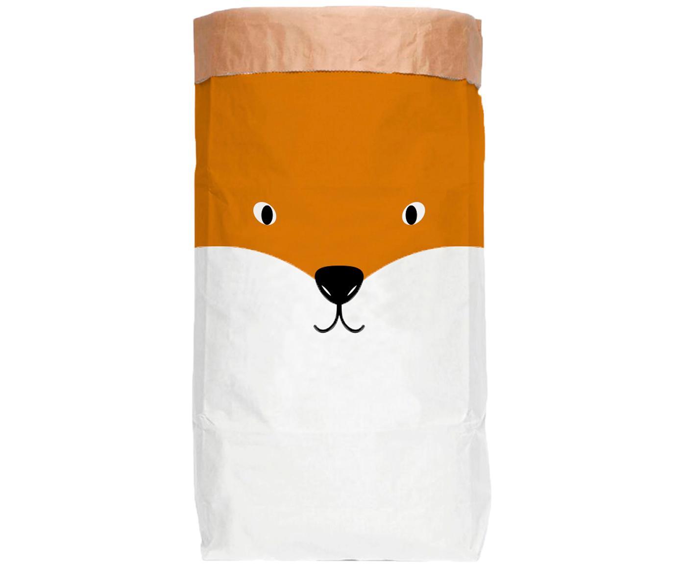 Opbergzak Fox, Gerecycled papier, Wit, oranje, zwart, 60 x 90 cm