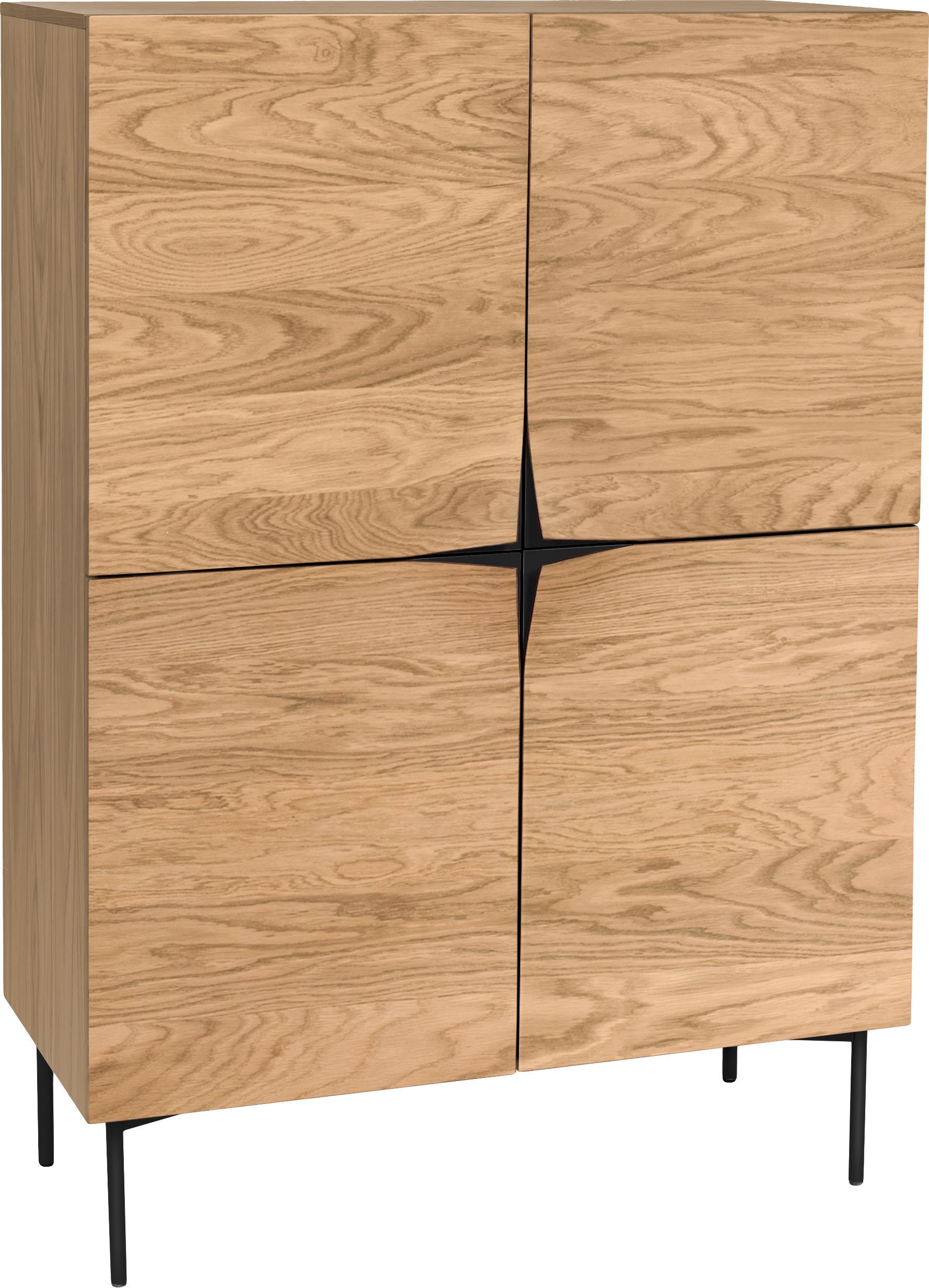 Highboard Filip met eikenhoutfineer, Frame: multiplex met eikenhoutfi, Poten: gepoedercoat metaal, Eikenhoutkleurig, zwart, 100 x 140 cm