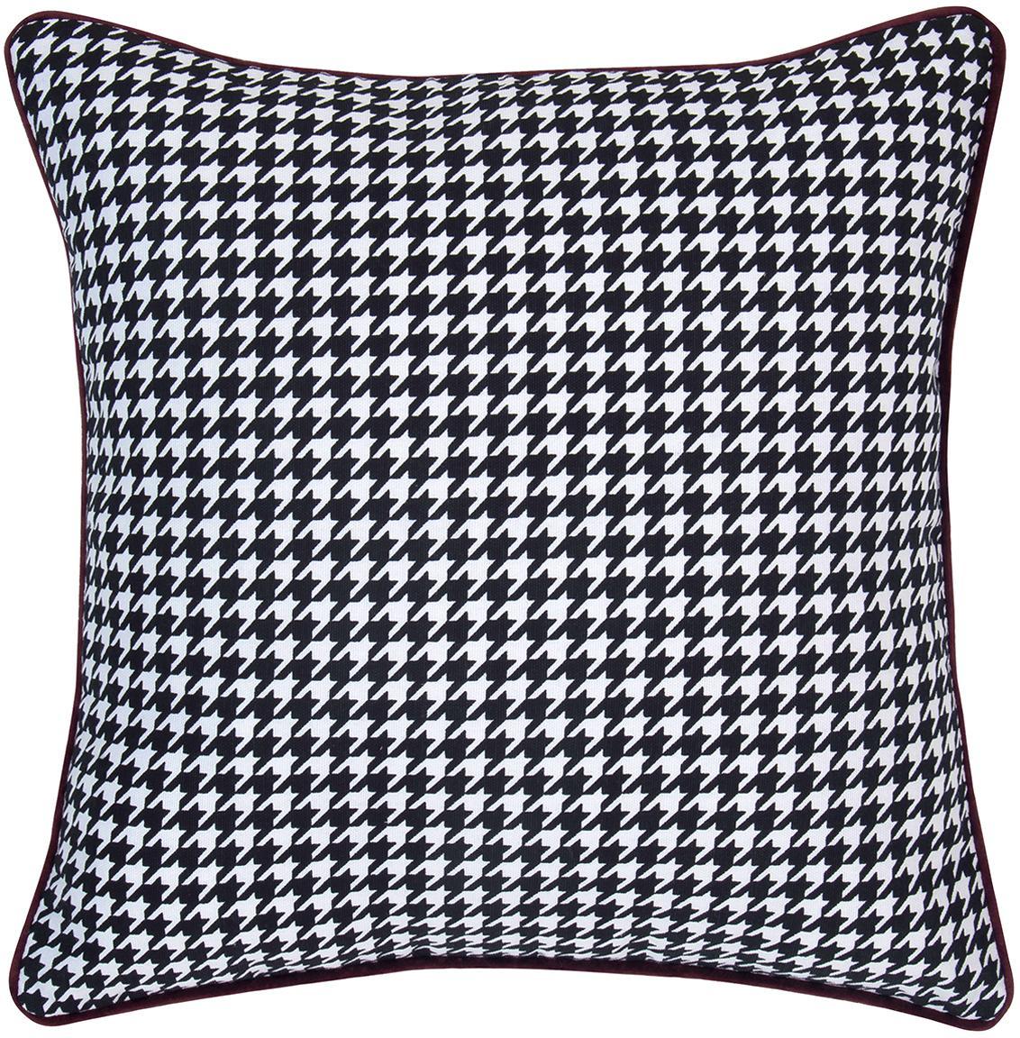 Poszewka na poduszkę Marge, Bawełna, Czarny, biały Wykończenie brzegów: oberżynowy, S 40 x D 40 cm