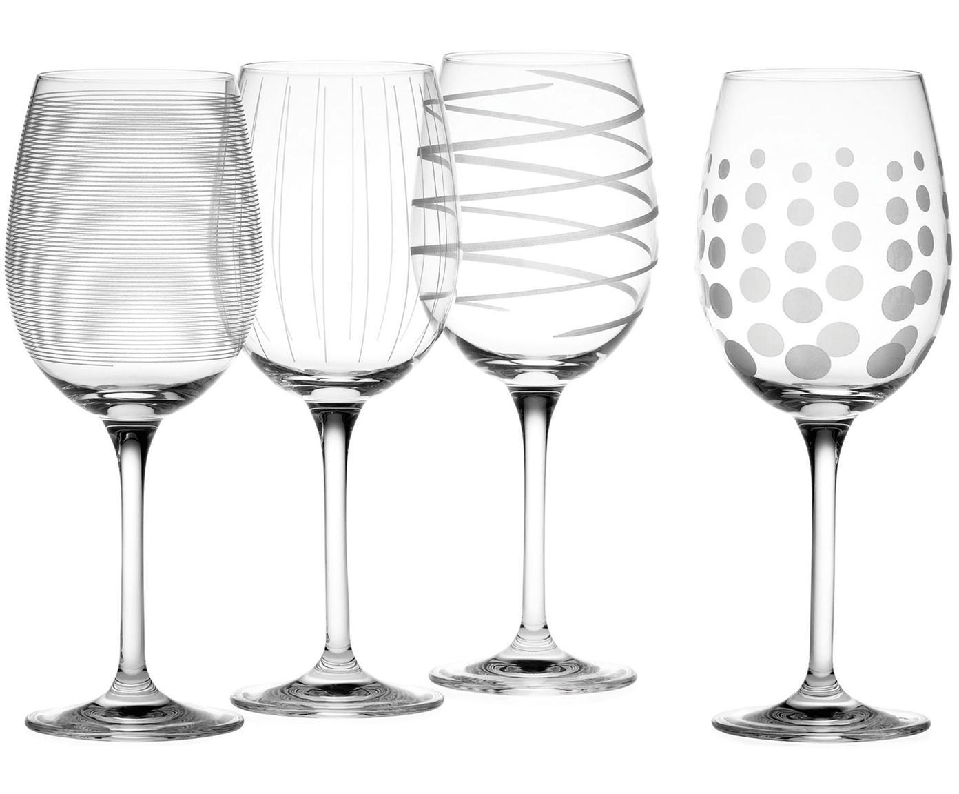 Witte wijnglazenset Mikasa met zilverkleurige decoratie, 4-delig, Glas, Transparant, zilverkleurig, Ø 9 x H 23 cm