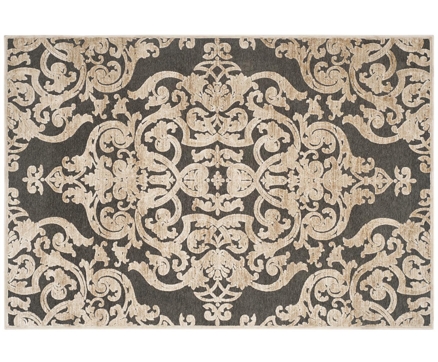 Alfombra Marigot, estilo vintage, Parte superior: 100%viscosa, Reverso: 100%viscosa, Gris, crema, An 160 x L 230 cm (Tamaño M)