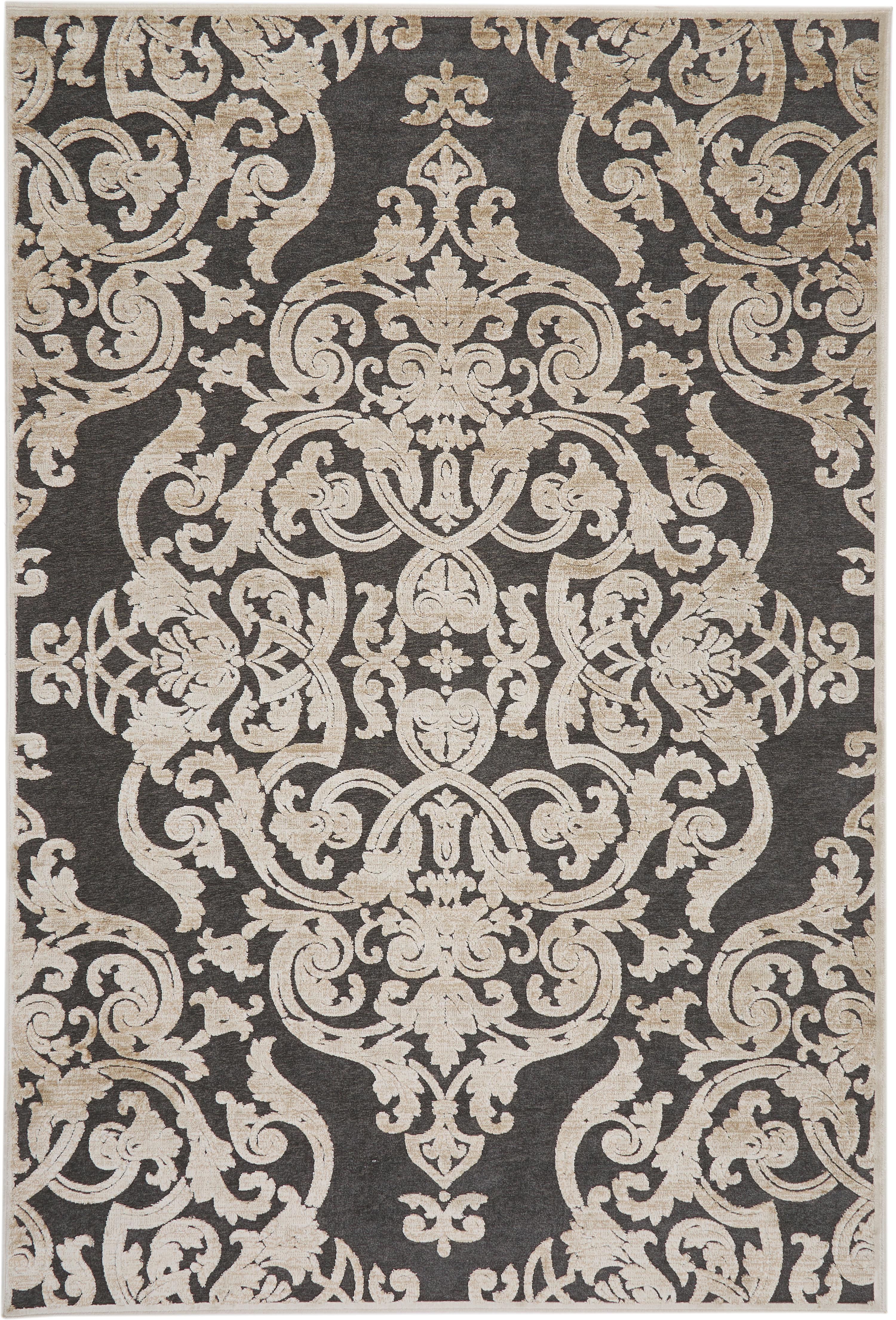 Vintage Viskoseteppich Marigot mit Hoch-Tief-Effekt, Flor: 100% Viskose, Grau, Creme, B 160 x L 230 cm (Größe M)