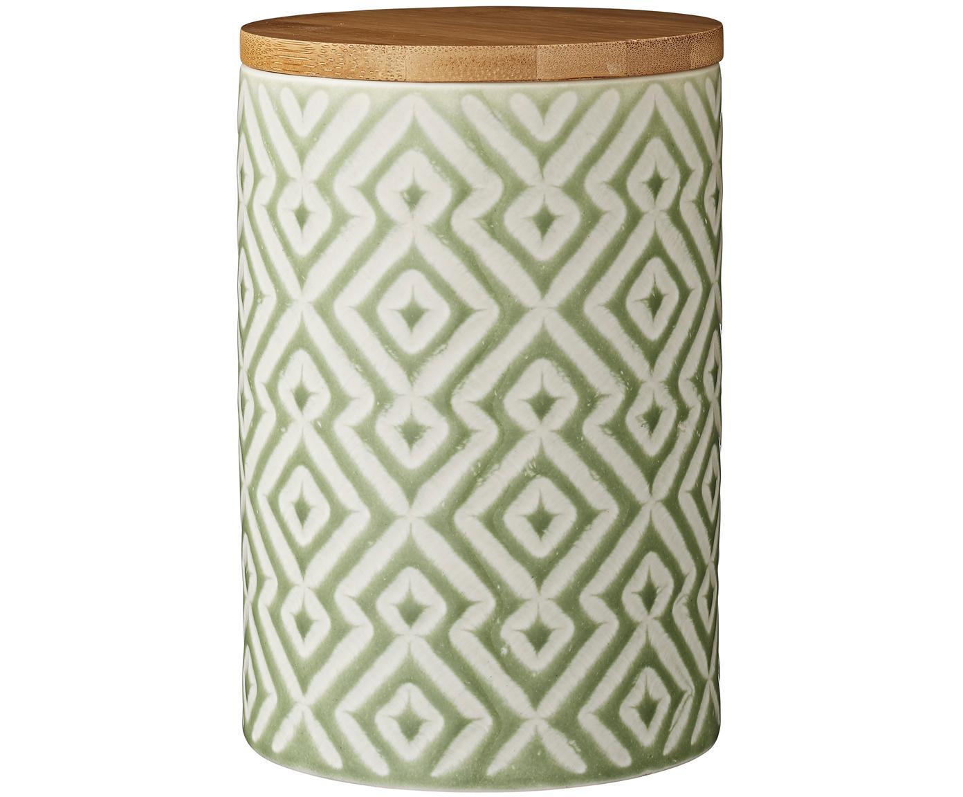 Aufbewahrungsdose Abella, Dose: Keramik, Deckel: Bambus, Dose: Hellgrün, Weiß<br>Deckel: Bambus, Ø 11 x H 17 cm