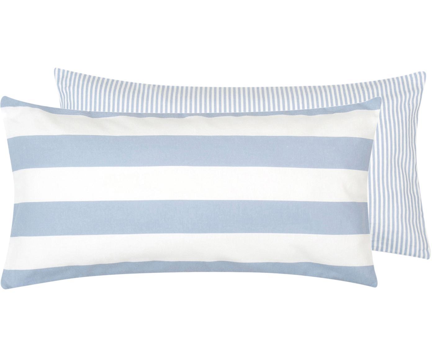Dwustronna poszewka na poduszkę z cienkiej flaneli Tyler, 2 szt., Biały, jasny niebieski, S 40 x D 80 cm
