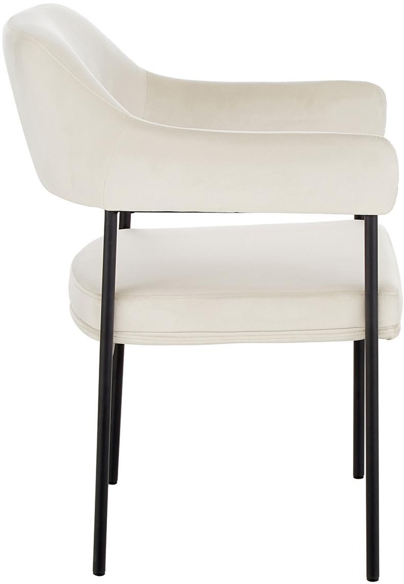 Sedia con braccioli in velluto Zoe, Rivestimento: velluto (poliestere) 50.0, Struttura: metallo verniciato a polv, Velluto bianco crema, Larg. 56 x Prof. 62 cm