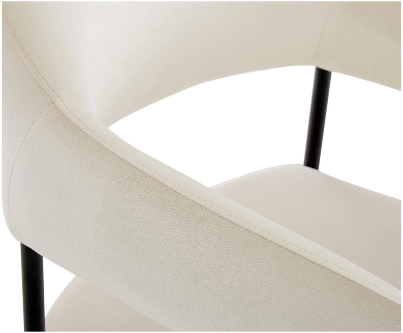 Silla con reposabrazos de terciopelo Zoe, Tapizado: terciopelo (poliéster) 50, Estructura: metal con pintura en polv, Terciopelo blanco crema, An 56 x F 62 cm