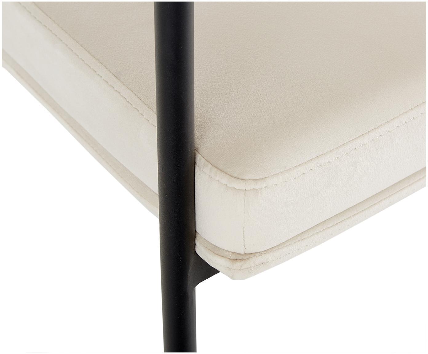 Krzesło z aksamitu z podłokietnikami Zoe, Tapicerka: aksamit (poliester) 50 00, Stelaż: metal malowany proszkowo, Aksamitny kremowobiały, S 56 x G 62 cm