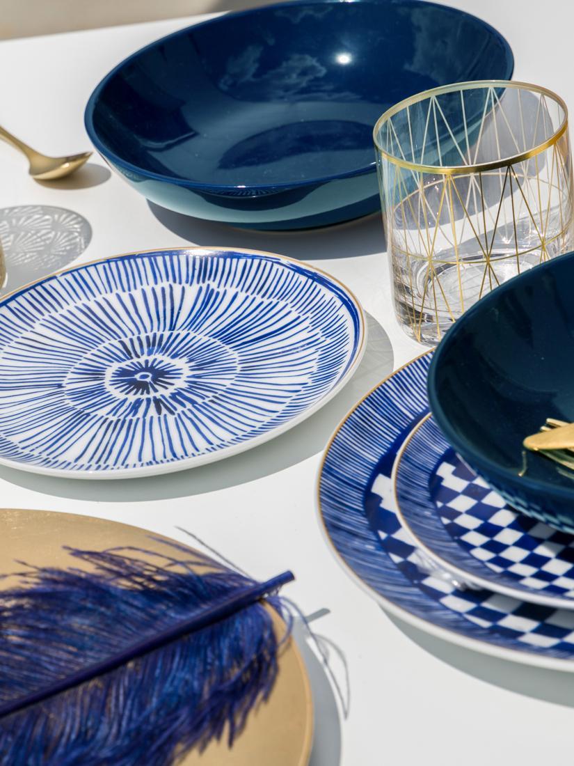 Set piatti blu/bianco Masai, set di 18, Bianco, blu, blu scuro Bordo: oro, Diverse dimensioni