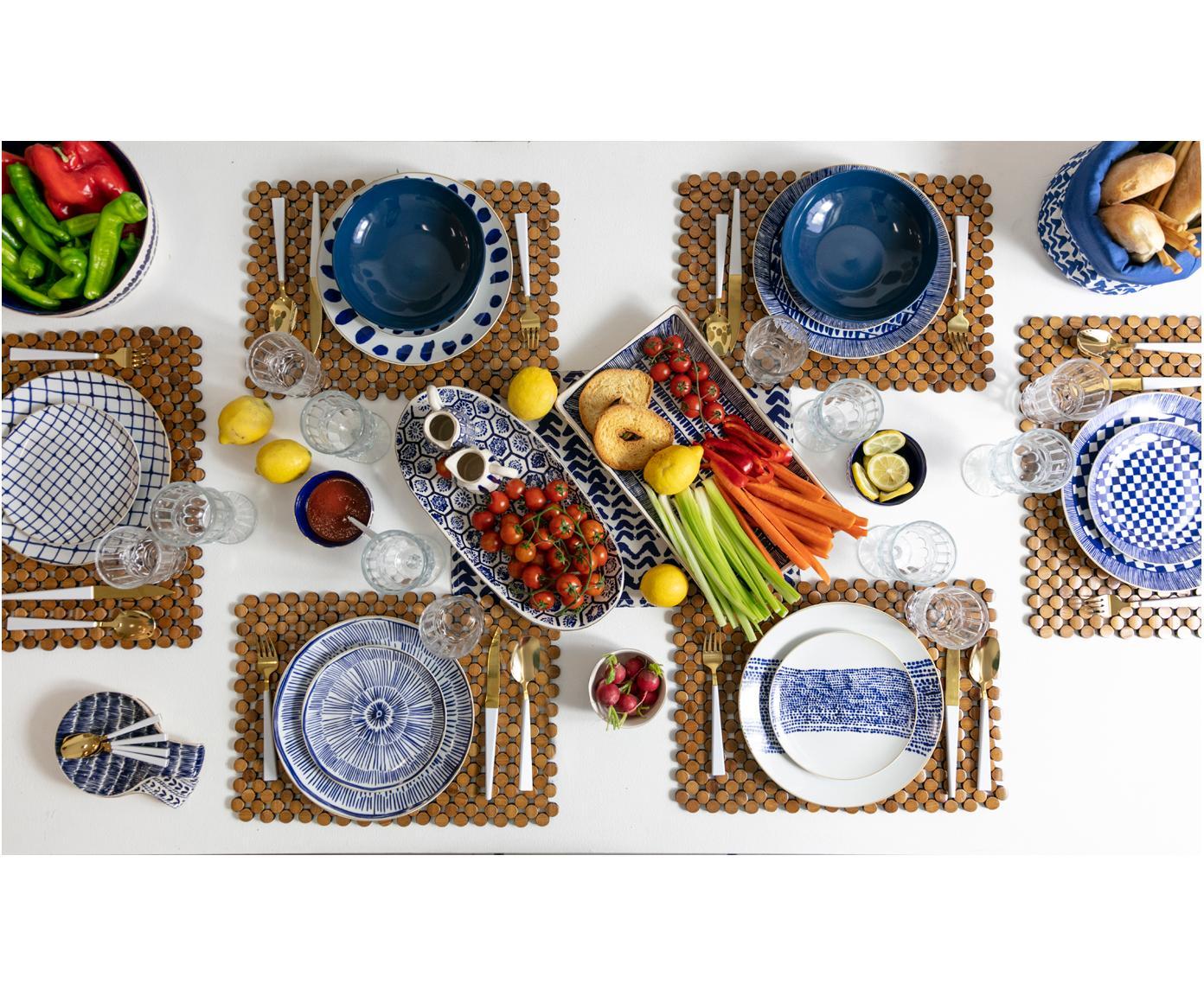 Komplet naczyń  Masai, 18 elem., Biały, niebieski, ciemnyniebieski Krawędź: złoty, Różne rozmiary