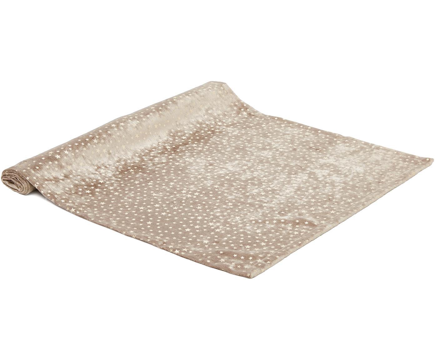 Fluwelen tafelloper Estrella, Polyester fluweel, Beige, goudkleurig, 50 x 140 cm