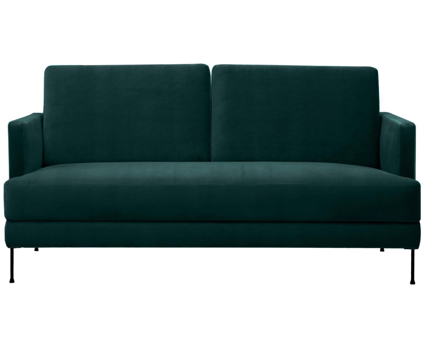 Sofá de terciopelo Fluente (2plazas), Tapizado: terciopelo (tapizado de p, Estructura: madera de pino macizo, Patas: metal, Verde oscuro, An 168 x F 83 cm