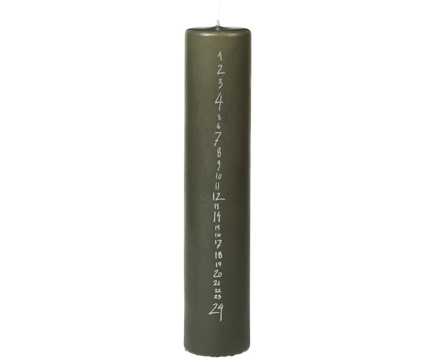 Adventskalenderkerze Leaf, Paraffinwachs, Dunkelgrün, Silberfarben, Ø 5 x H 25 cm