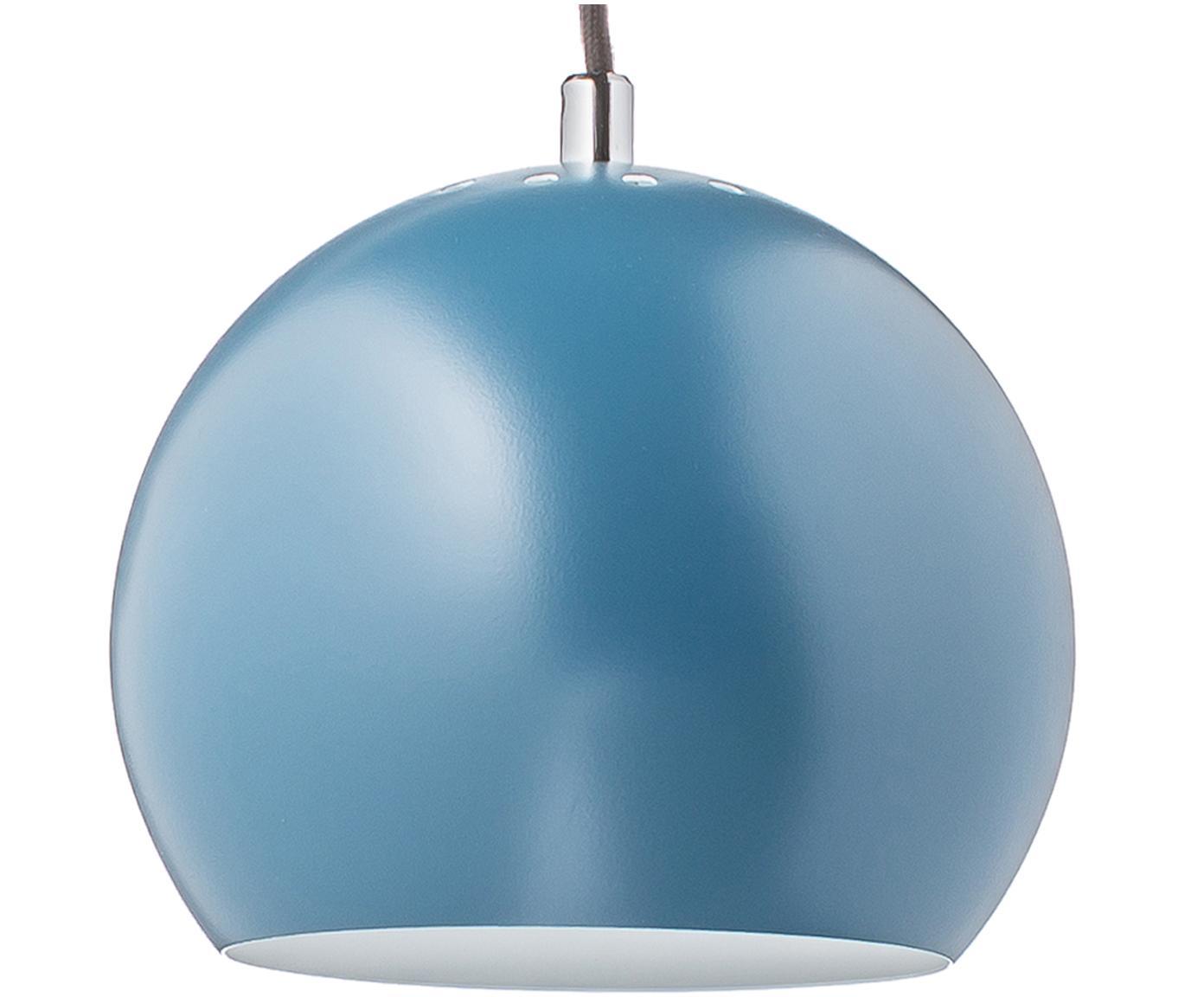 Kleine bolvormige hanglamp  Ball, Gepoedercoat metaal, Petrolkleurig, Ø 18 x H 16 cm