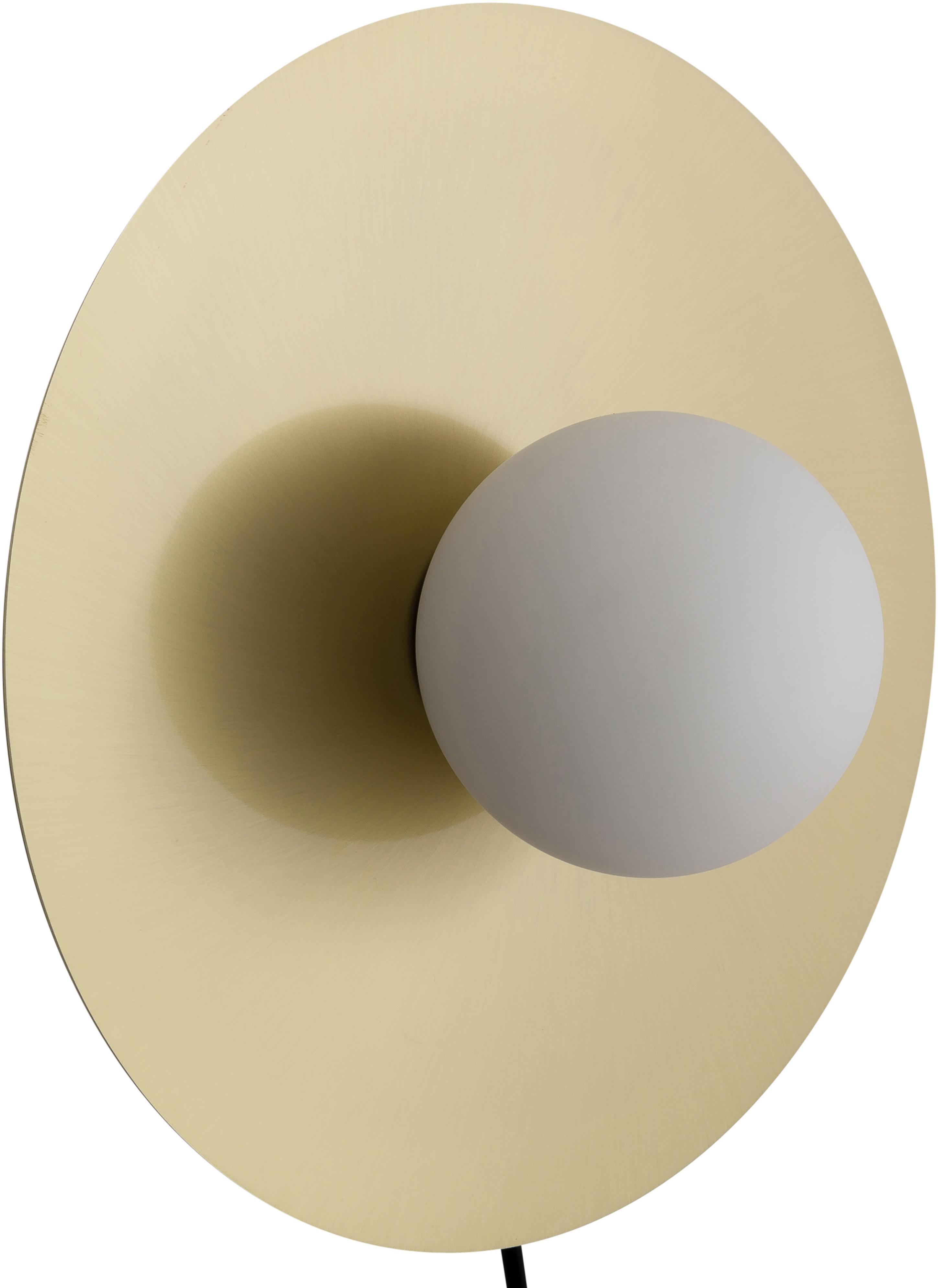 LED wandlamp Starling, Lampenkap: glas, Baldakijn: mat messingkleurig. Lampenkap: wit, Ø 33 cm