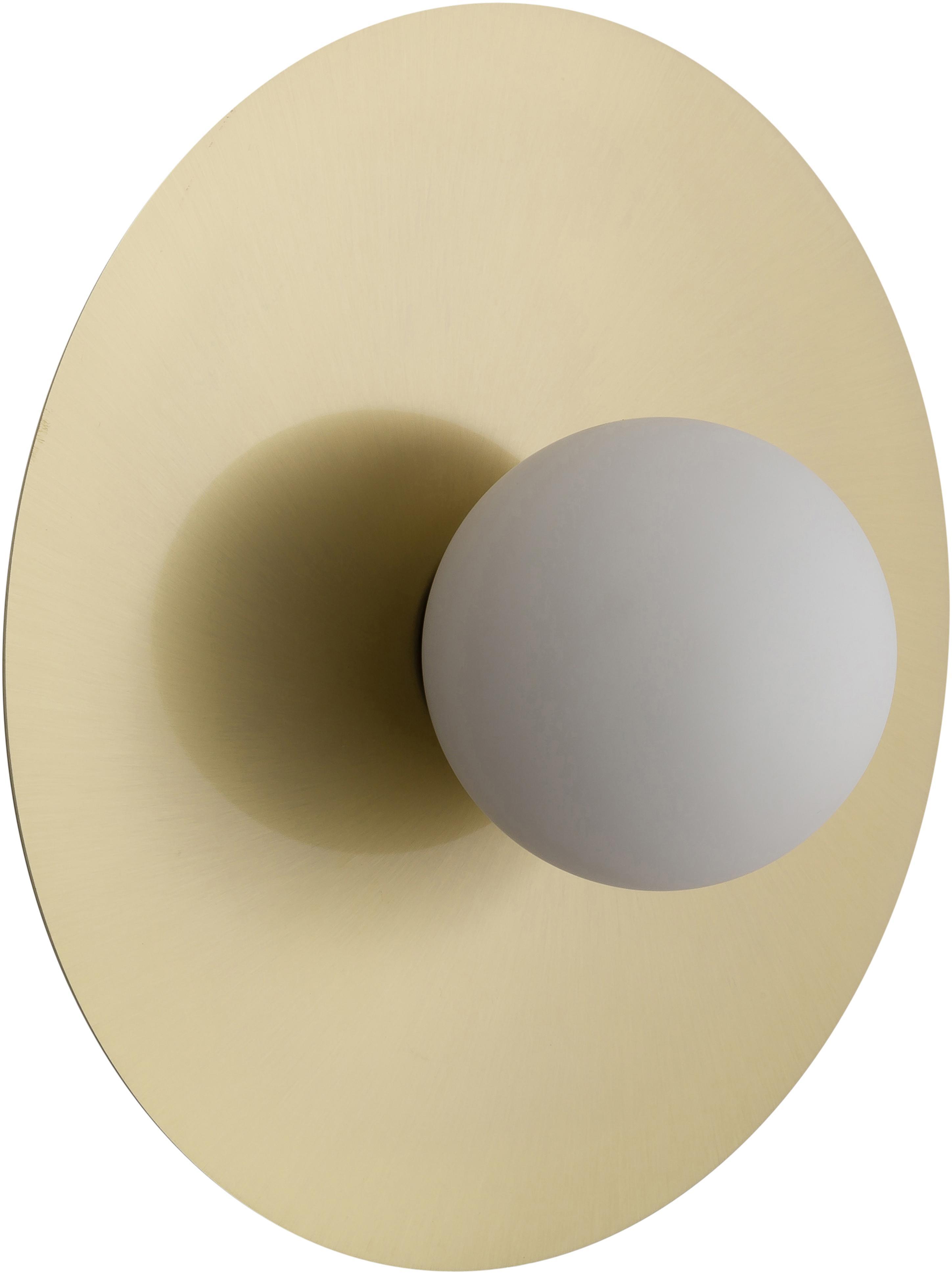 Wandleuchte Starling in Gold, Lampenschirm: Glas, Baldachin: Messingfarben, mattLampenschirm: Weiß, Ø 33 cm