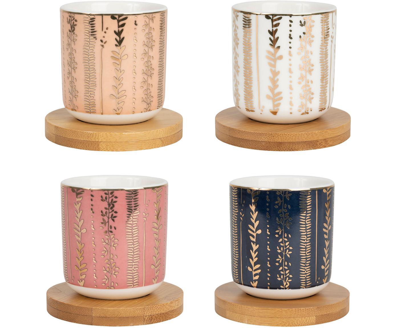 Komplet filiżanek do espresso ze spodkami Gold, 8 elem., Porcelana, drewno bambusowe, Blady różowy, niebieski, Ø 6 x W 7 cm
