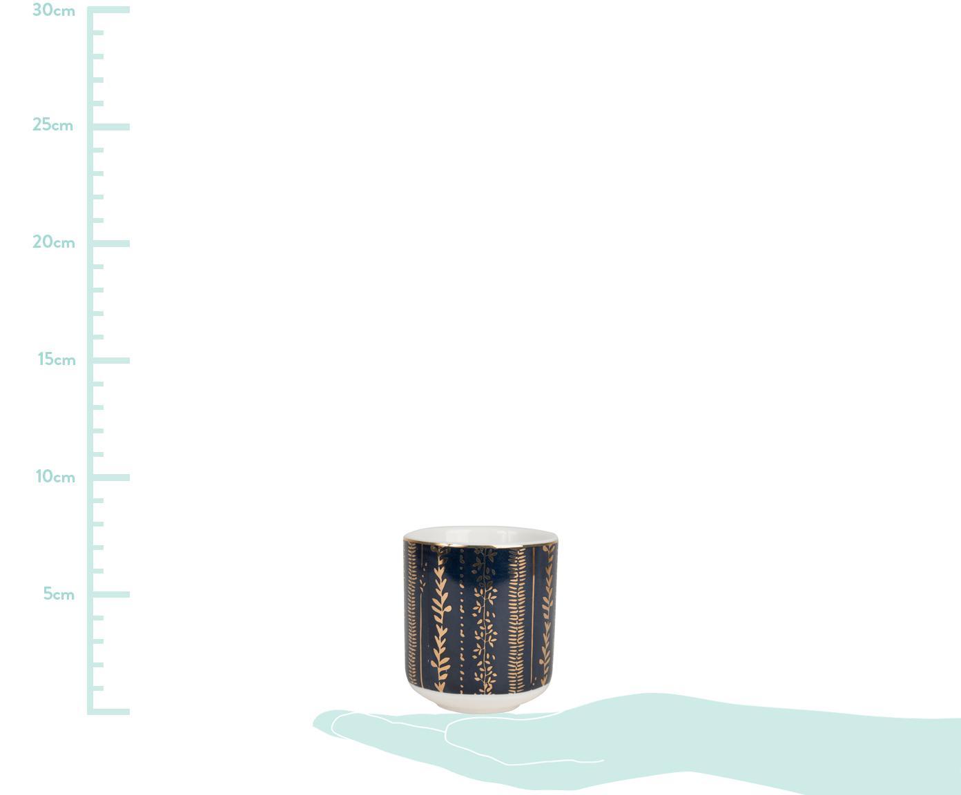 Set tazze da caffè con piattini Veg-Gold 8 pz, Porcellana, bambù, Rosa, blu, Ø 6 x Alt. 7 cm