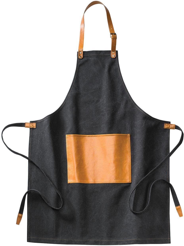 Fartuch z regulowanym paskiem na szyję Asado, Czarny, brązowy, S 70 x D 90 cm