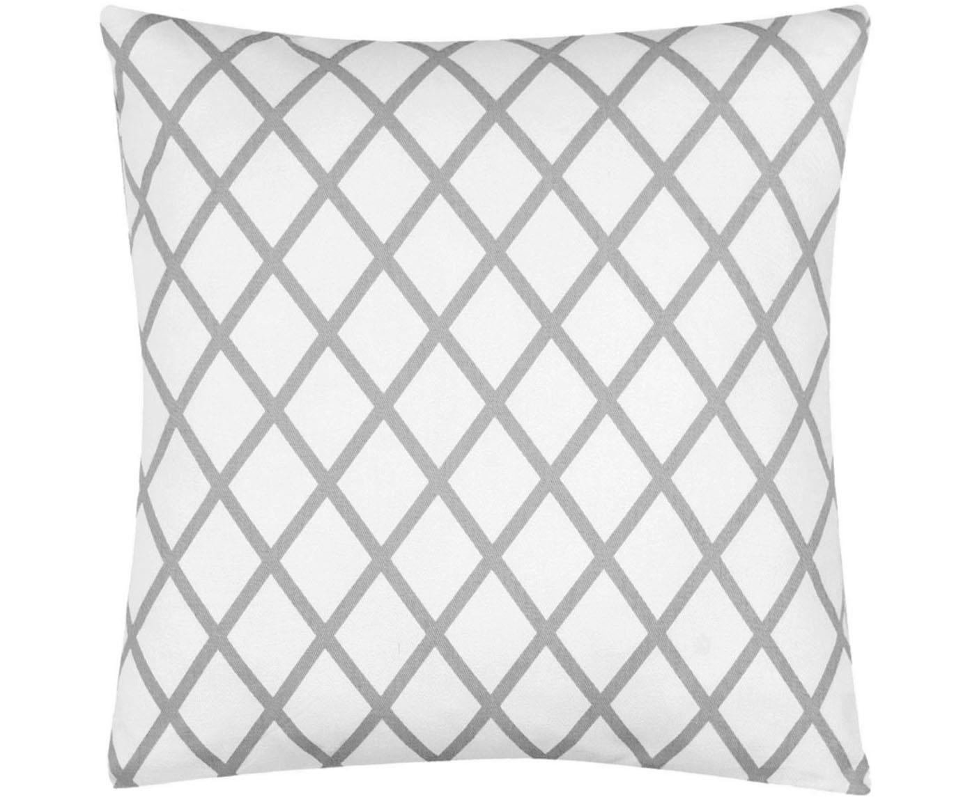Kissenhülle Romy mit Rautenmuster in Grau/Weiß, 100% Baumwolle, Panamabindung, Grau, Creme, 40 x 40 cm