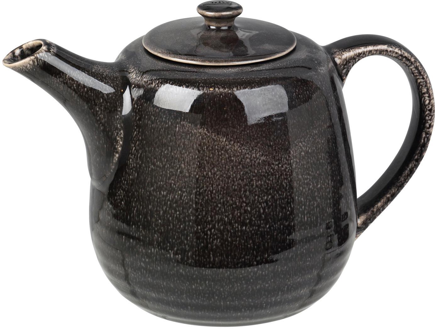 Handgemachte Teekanne Nordic Coal aus Steingut, Steingut, Bräunlich, 1.3 L