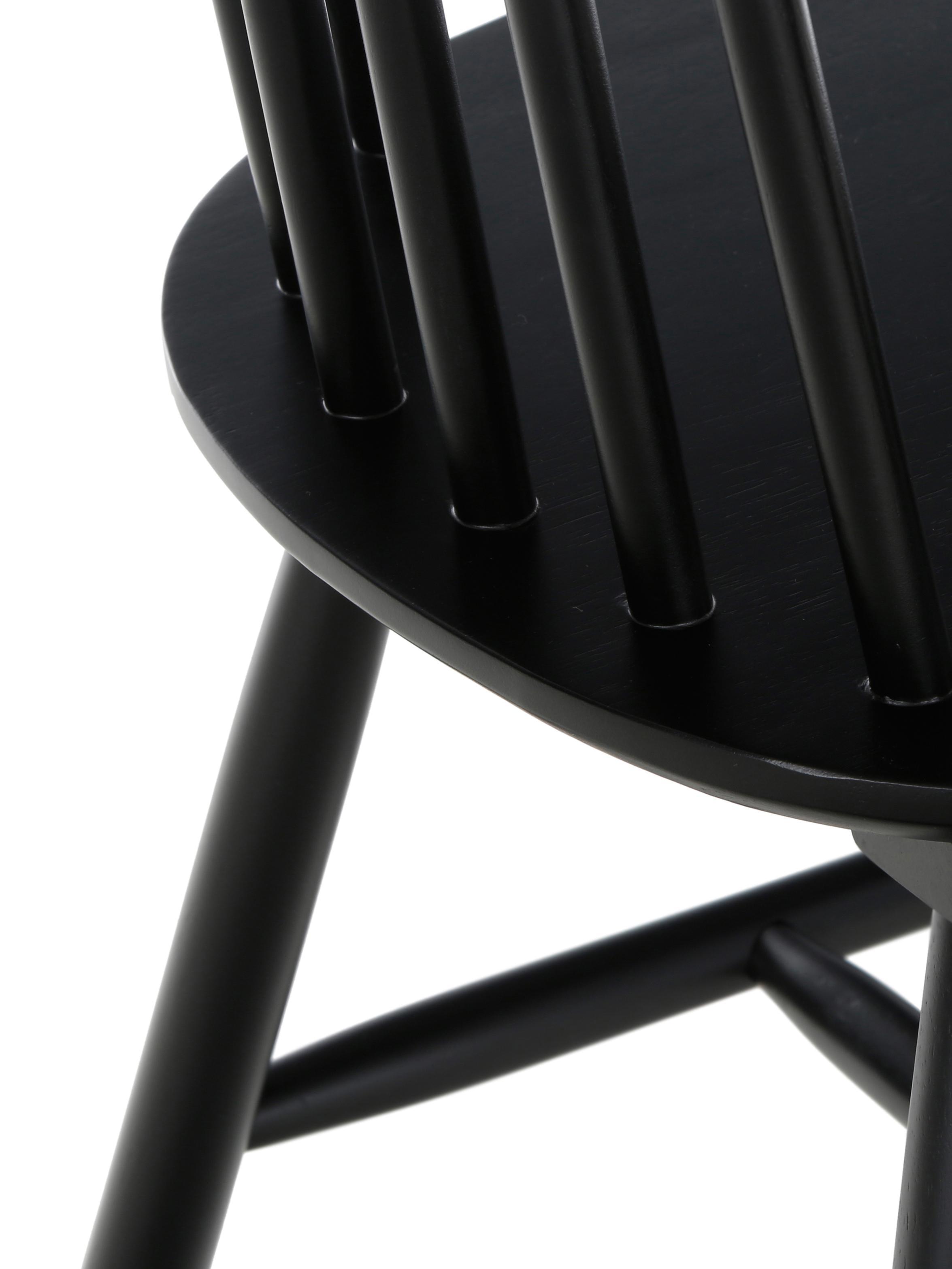 Holzstühle Milas, 2 Stück, Kautschuckholz, lackiert, Schwarz, 52 x 93 cm