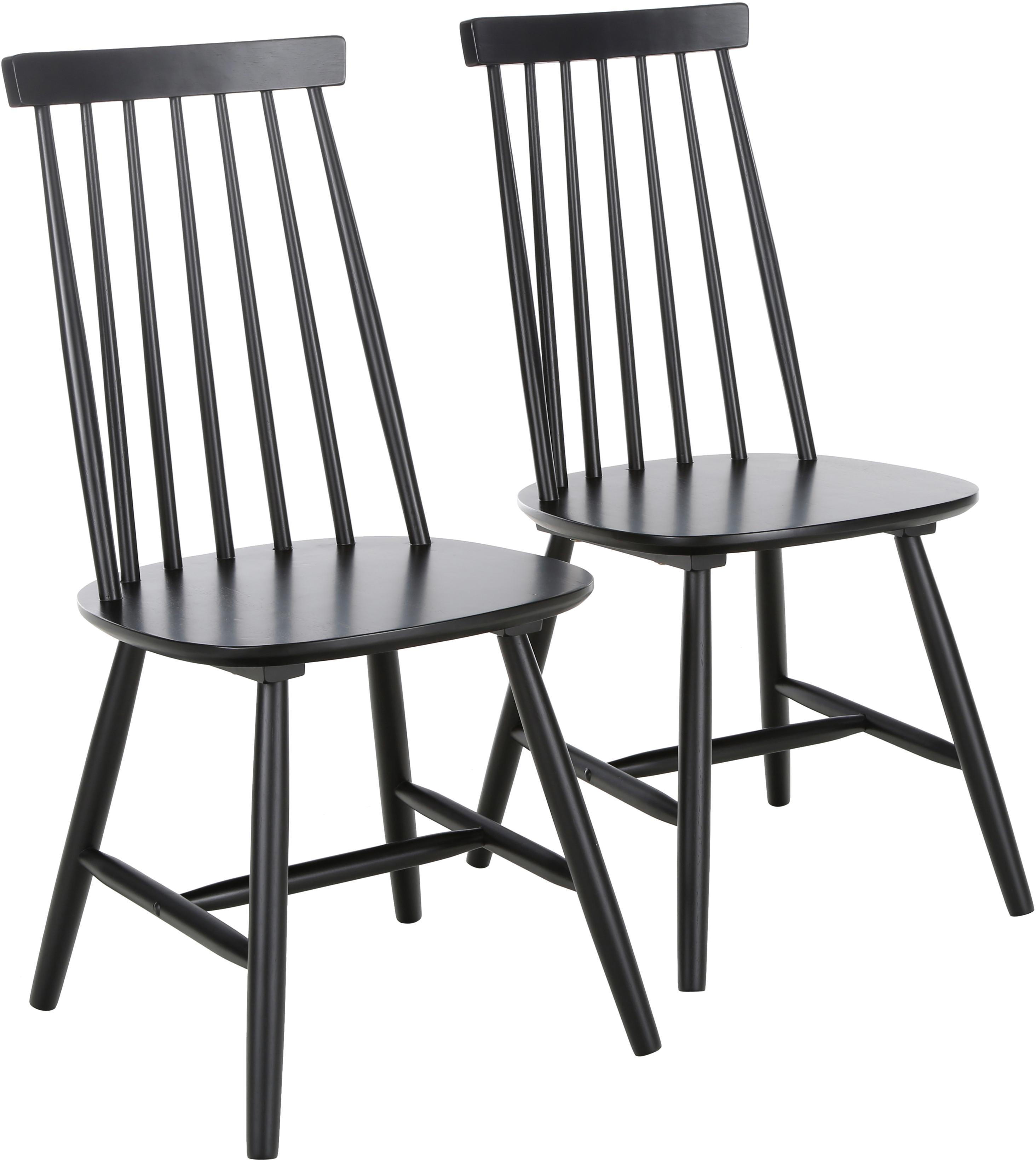 Sedia in legno Milas, 2 pz., Legno di caucciù verniciato, Nero, Larg. 52 x Prof. 45 cm