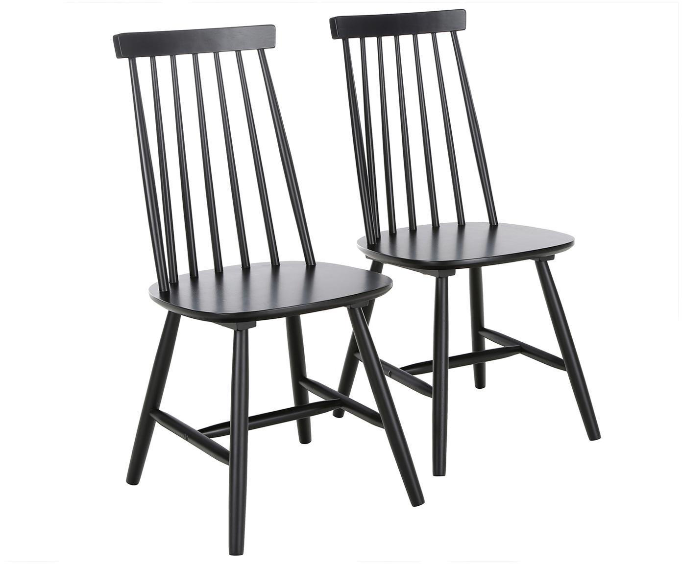 Krzesło z drewna Milas, 2 szt., Kauczukowiec brazylijski, lakierowany, Czarny, S 52 x G 45 cm