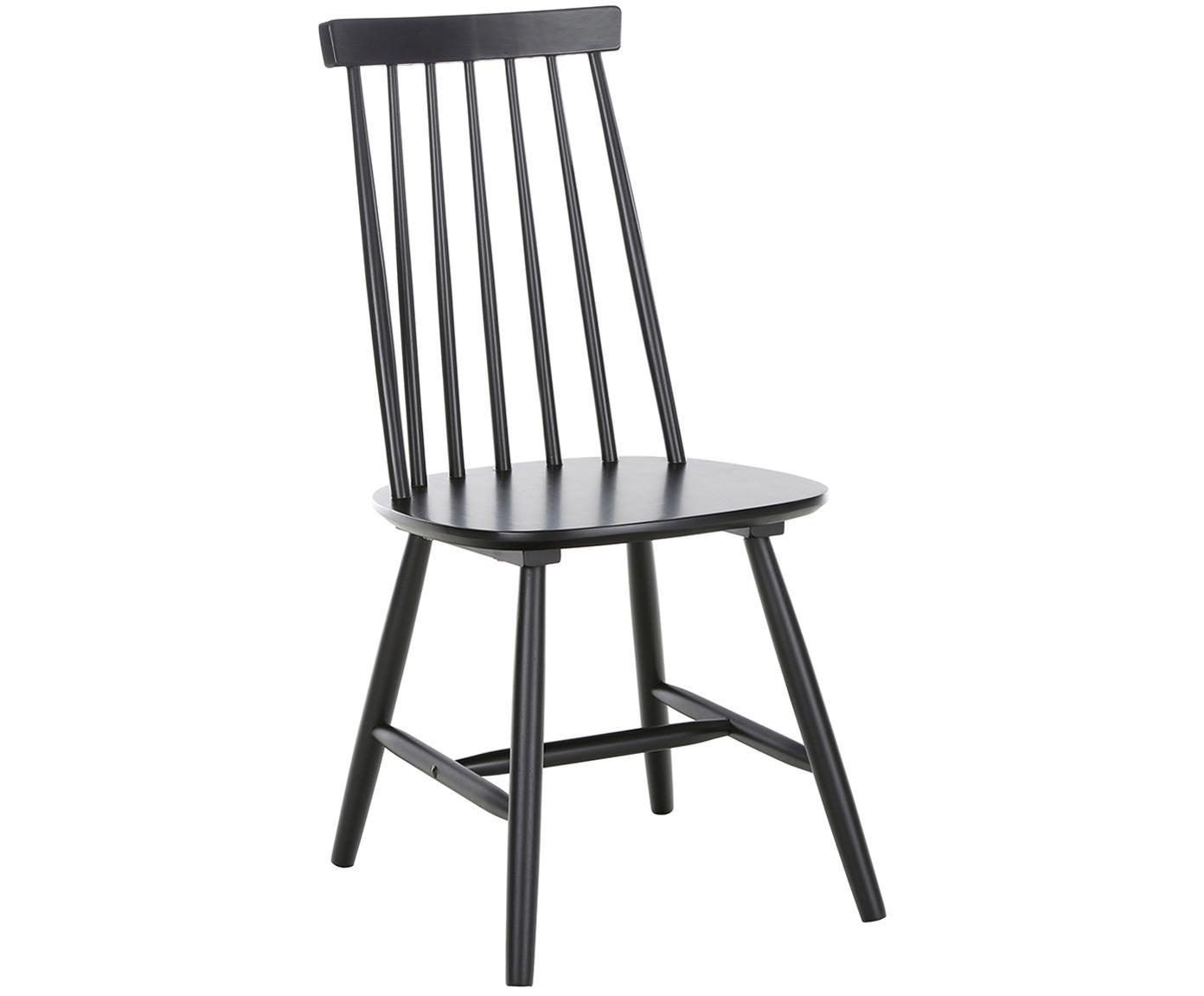 Houten stoelen Milas, 2 stuks, Gelakt rubberhout, Zwart, B 52 x D 45 cm