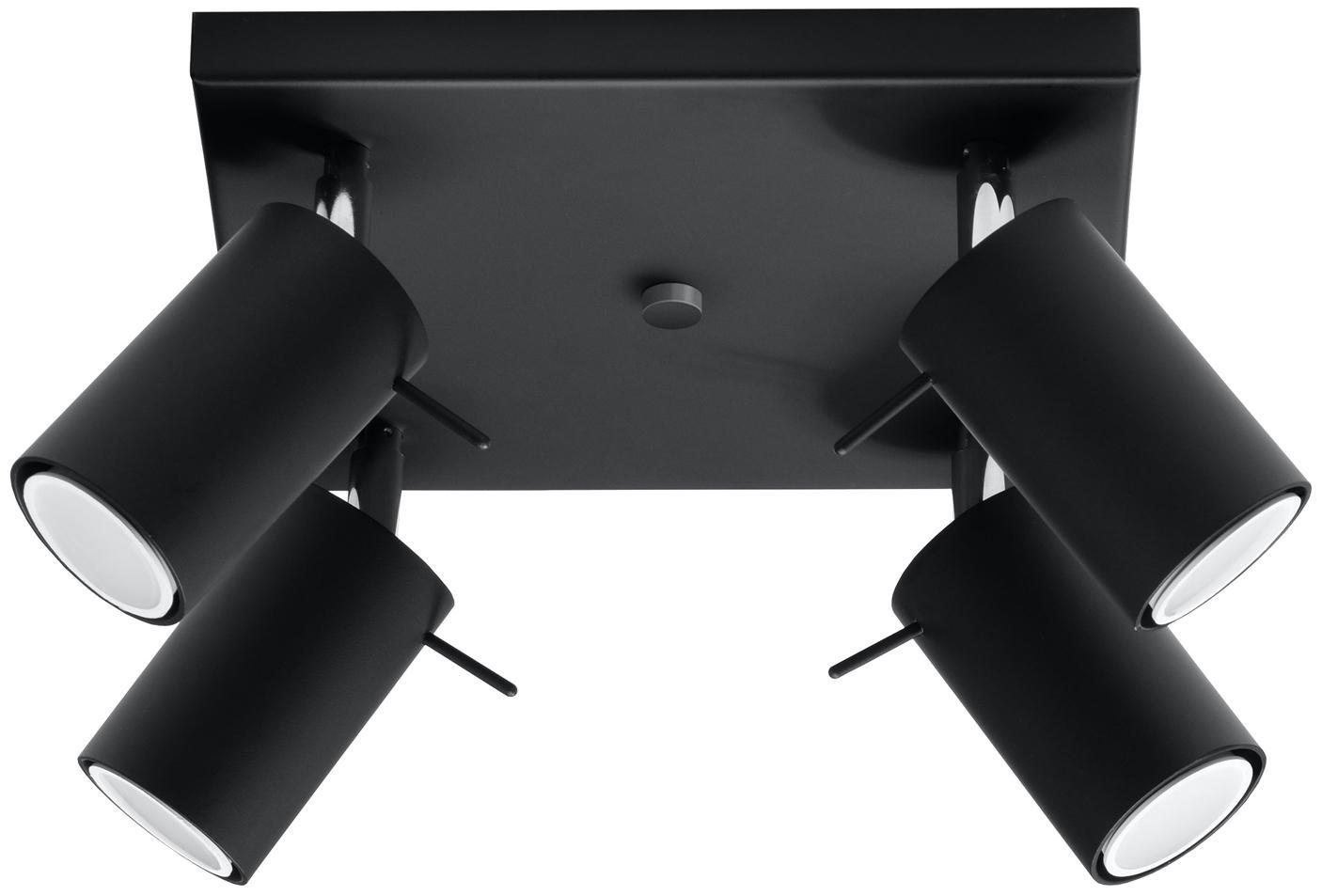 Plafondlamp Etna, Staal, Zwart, 25 x 15 cm