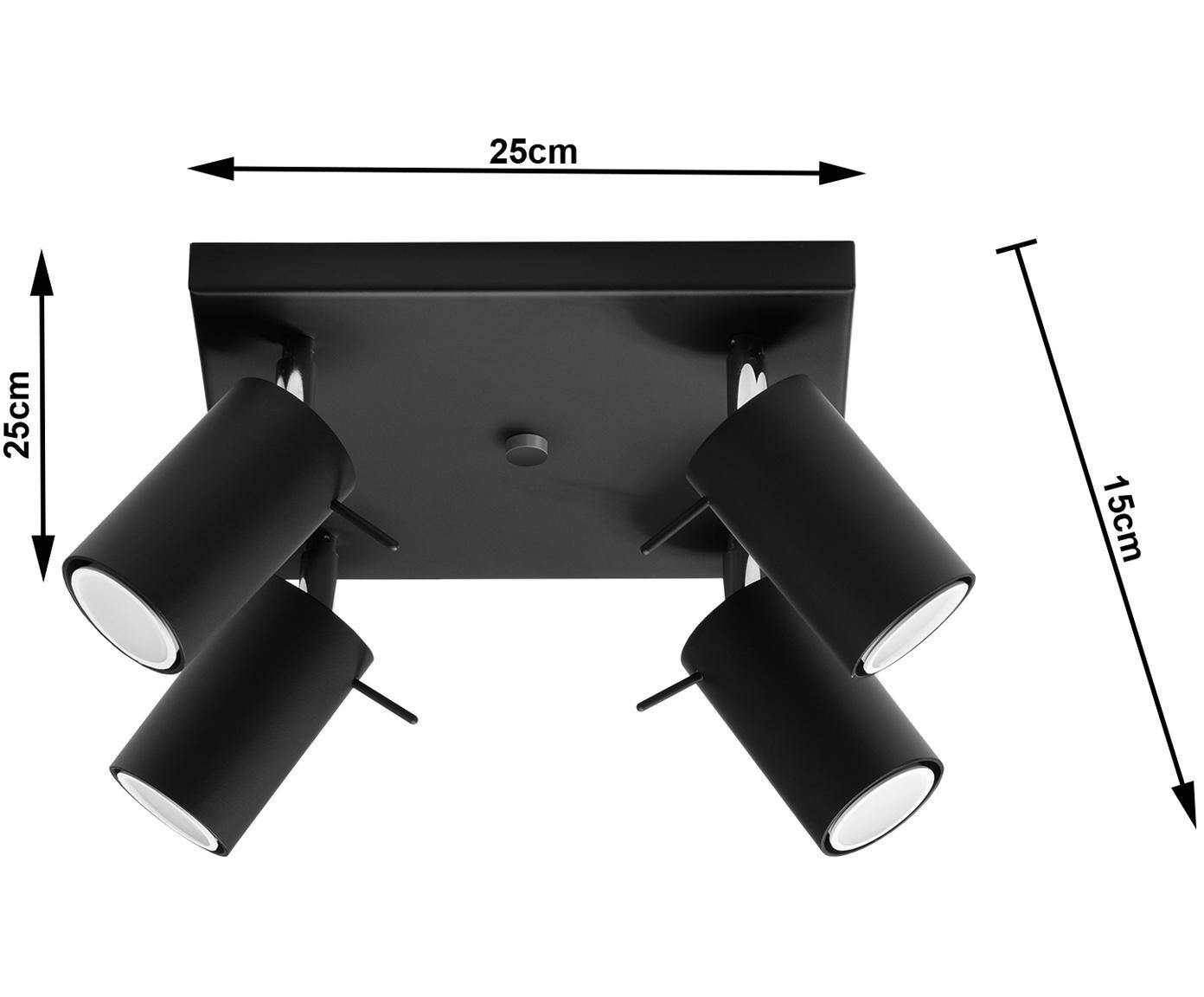 Deckenstrahler Etna in Schwarz, Stahl, Schwarz, 25 x 15 cm