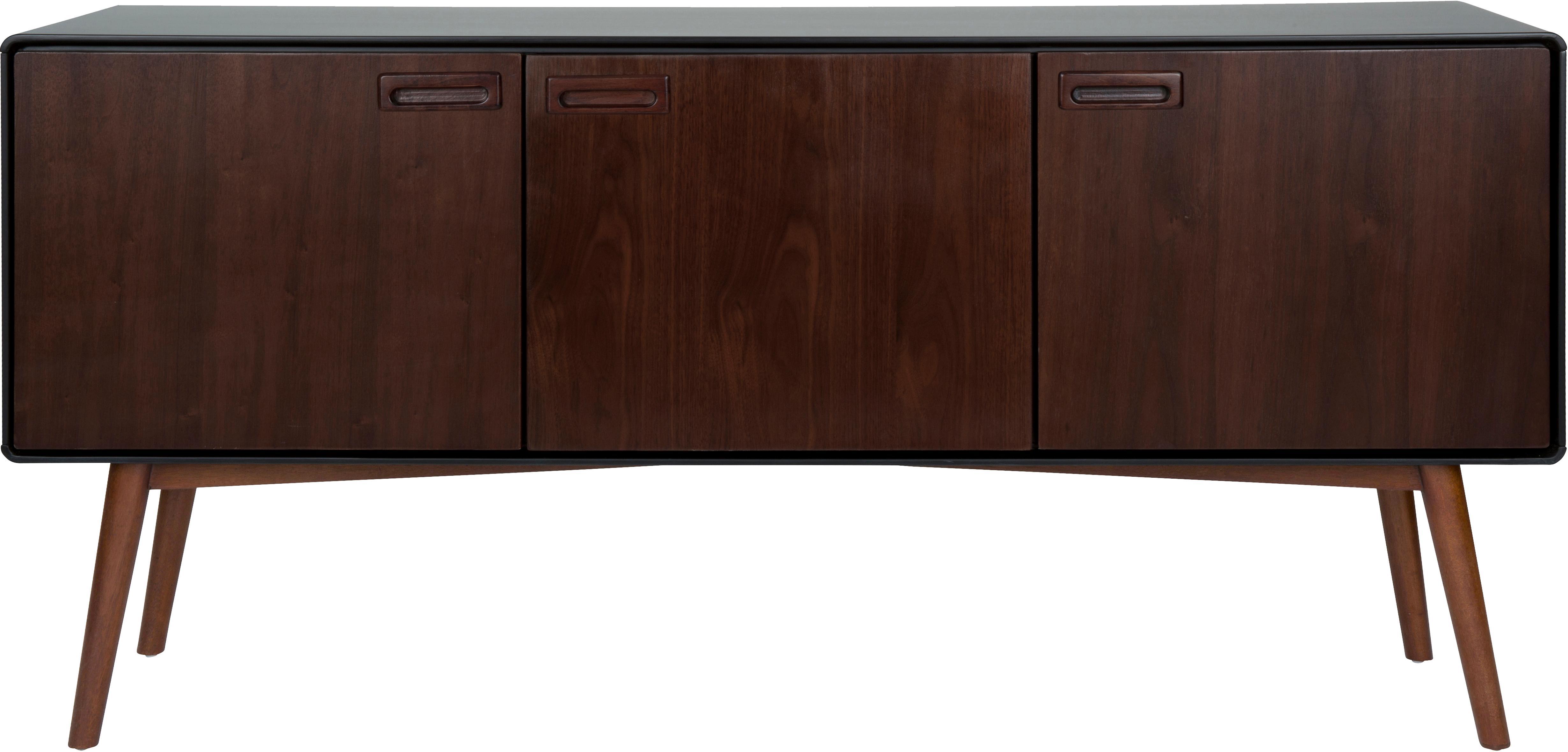 Retro Sideboard Juju mit Walnussfurnier, Füße: Eschenholz, massiv, gebei, Braun, Schwarz, 150 x 73 cm
