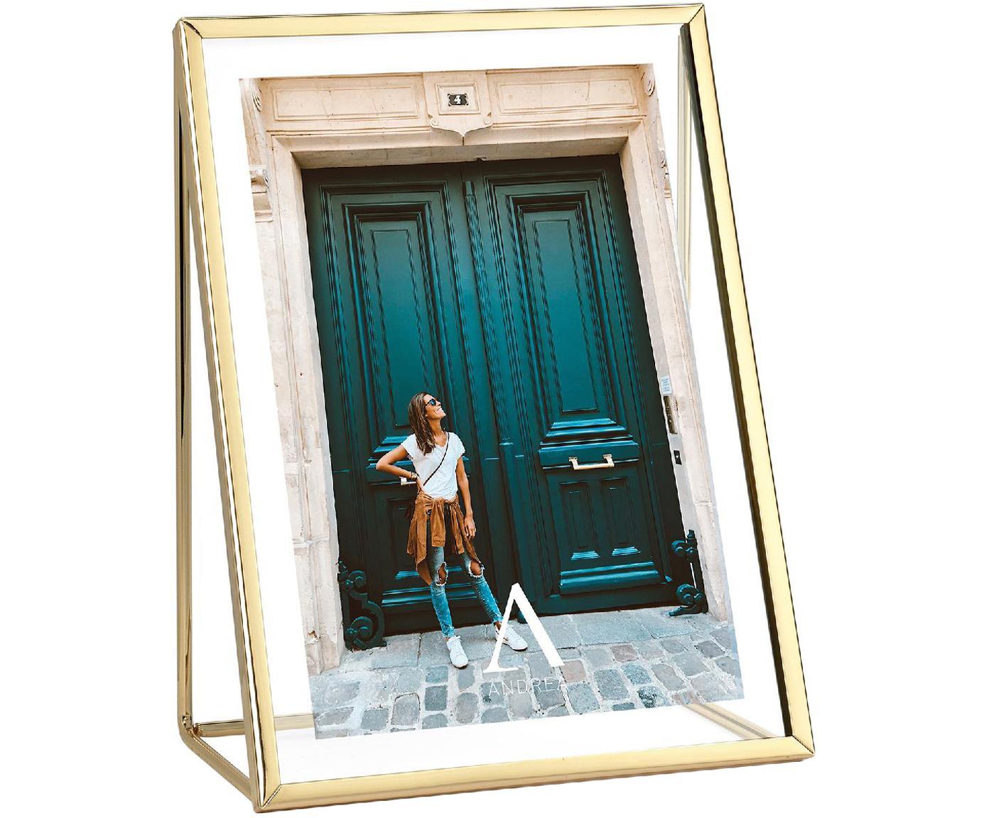 Fotolijstje Memi, Gecoat metaal, Goudkleurig, 13 x 18 cm