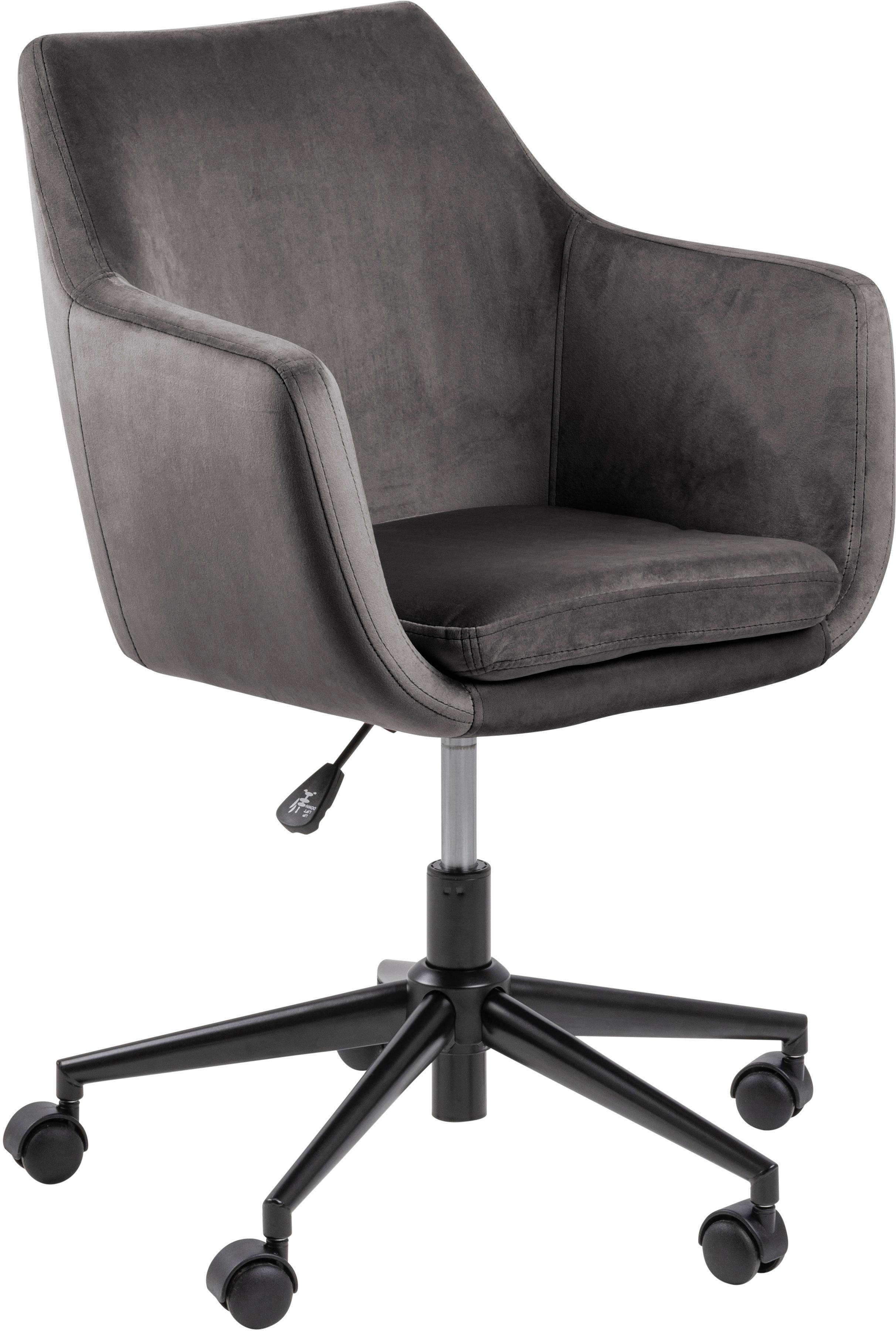 Fluwelen bureaustoel Nora, in hoogte verstelbaar, Bekleding: polyester (fluweel), Frame: gepoedercoat metaal, Donkergrijs, zwart, B 58 x D 58 cm