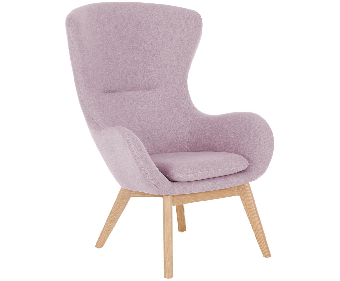 Sessel Wing in Rosa, Bezug: Polyester 40.000 Scheuert, Füße: Massivholz mit Eschenfurn, Rosa, 77 x 106 cm